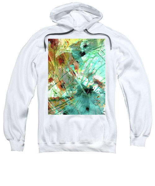 Brown And Teal Abstract Art - Give And Take - Sharon Cummings Sweatshirt