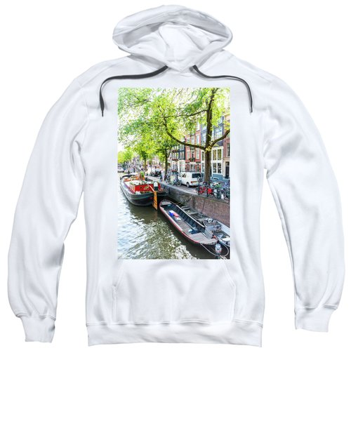 Canal Boats In Amsterdam Sweatshirt