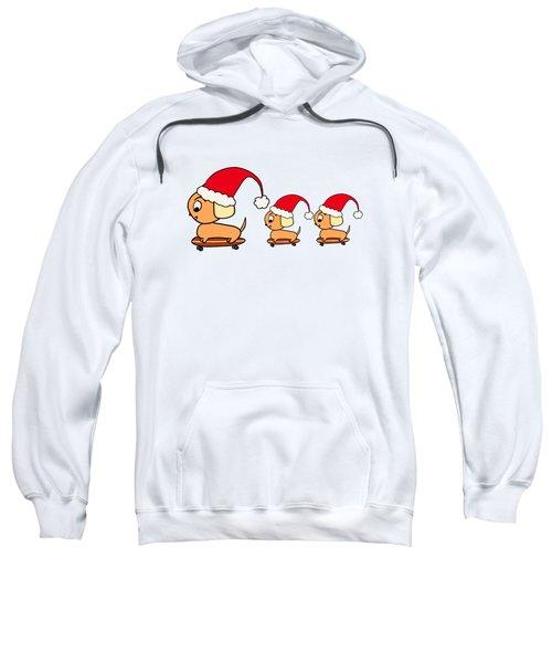 Christmas Dogs On Skateboards Sweatshirt