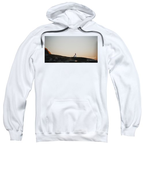 Church On Top Of A Hill And Under A Mountain, With The Moon In The Background. Sweatshirt