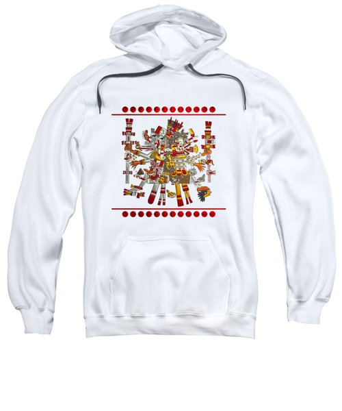 Codex Borgia - Aztec Gods - Quetzalcoatl Wind God With Mictlantecuhtli God Of Death On Vellum Sweatshirt