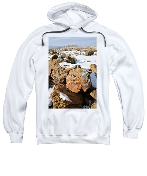 Colorful Lichen Covered Boulders In Book Cliffs Sweatshirt