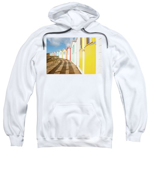 Colourful Bude Beach Huts Sweatshirt