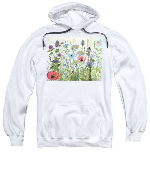 Cottage Flowers And Bees Sweatshirt