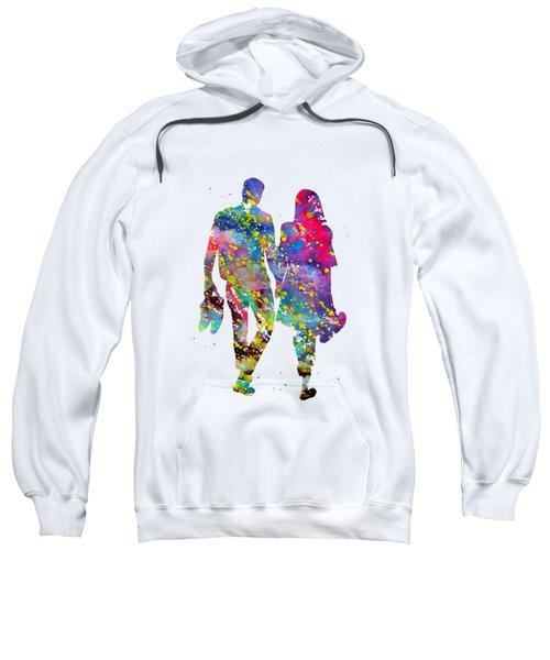 Couple Walking Barefoot Sweatshirt