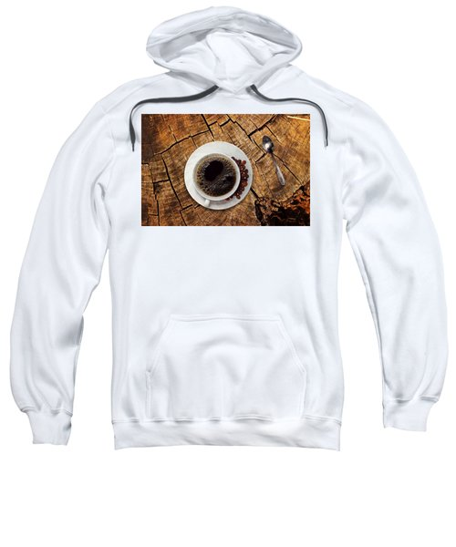 Cup Of Coffe On Wood Sweatshirt