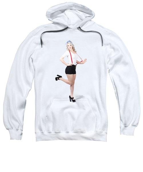 Cute Full Length Pinup Girl. Pinup Footwear Sweatshirt