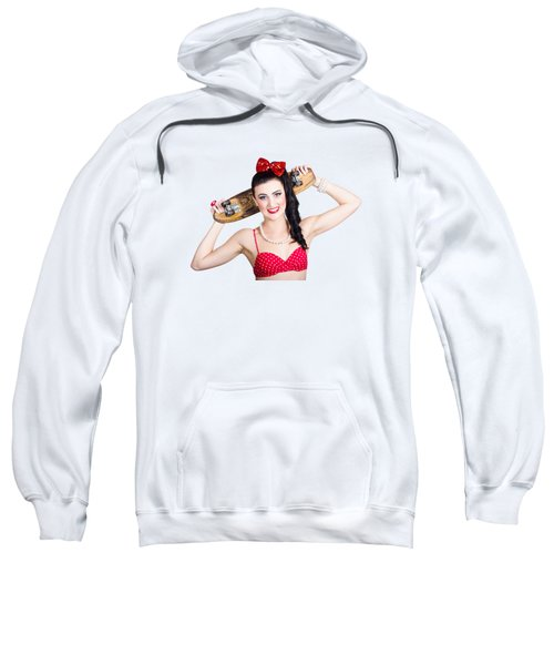 Cute Pinup Skater Girl In Punk Glam Fashion Sweatshirt