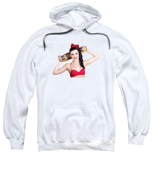 Cute Pinup Skater Girl In Punk Glam Fashion Sweatshirt