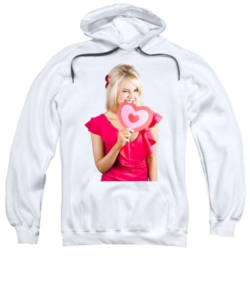 Cute Woman Biting Big Red Love Heart Sweatshirt
