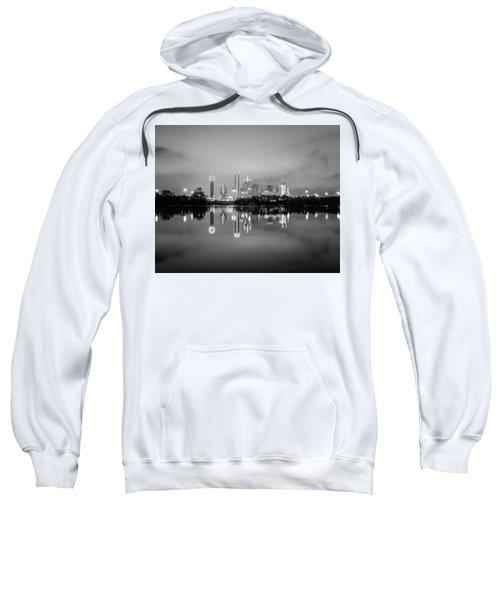 Dallas Cityscape Reflections Black And White Sweatshirt