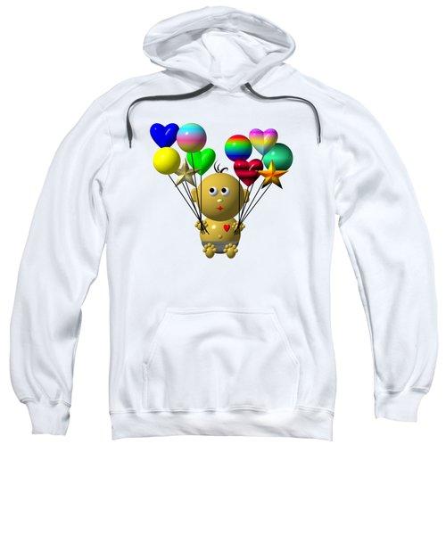 Dark Skinned Bouncing Baby Boy With 10 Balloons Sweatshirt