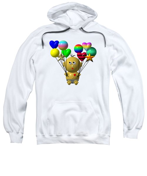 Dark Skinned Bouncing Baby Boy With 10 Balloons Sweatshirt