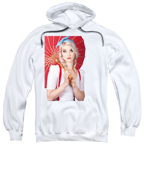 Dreamy Blond Pin Up Woman With Parasol. Old Style Sweatshirt