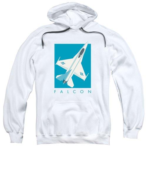 F-16 Falcon Fighter Jet Aircraft - Cyan Sweatshirt