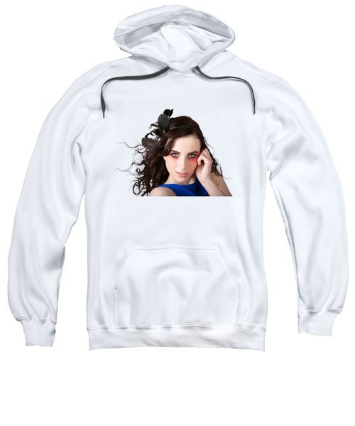 Face Of A Female Beauty With Red Eye Make Up Sweatshirt