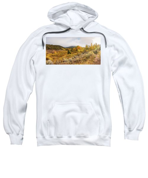 Fall Panorama Of Aspens And Cottonwoods At Twomile Reservoir Dale Ball Trails - Santa Fe New Mexico Sweatshirt