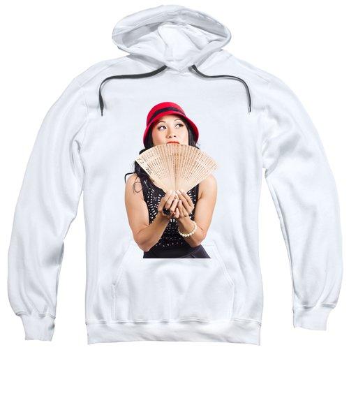 Fan Of Asia. Stylish Chinese Lady With Oriental Fan Sweatshirt