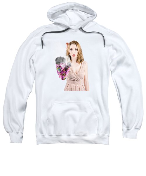Fifties House Wife Gesturing A Cooking Time Out Sweatshirt