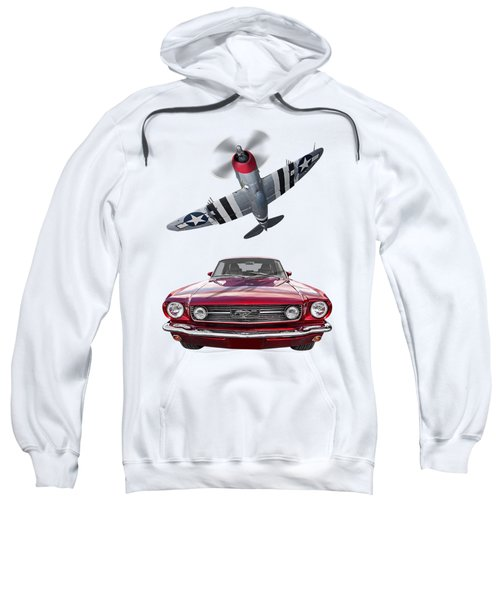Fly Past - 1966 Mustang With P47 Thunderbolt Sweatshirt