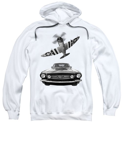 Fly Past - 1966 Mustang With P47 Thunderbolt In Black And White Sweatshirt