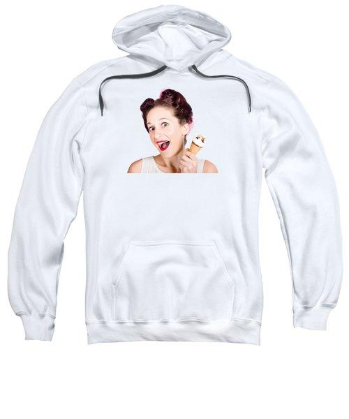 Funny Pinup Girl With Ice Cream In Isolated Studio Sweatshirt