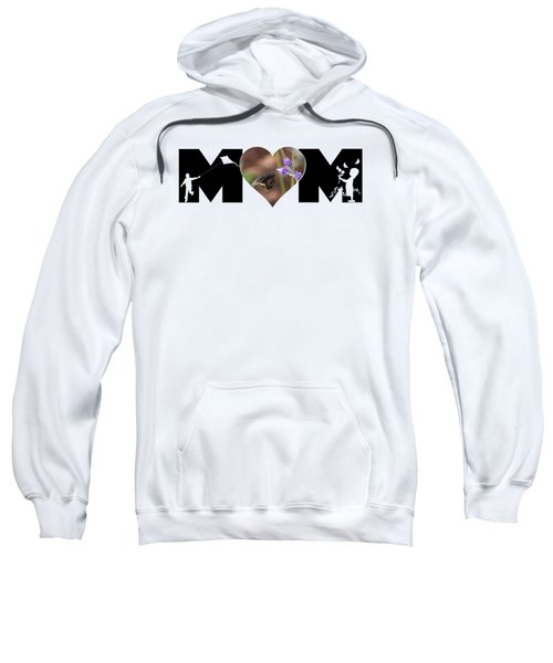 Girl And Boy Silhouette With Butterfly On Lavender In Heart Mom Big Letter Sweatshirt