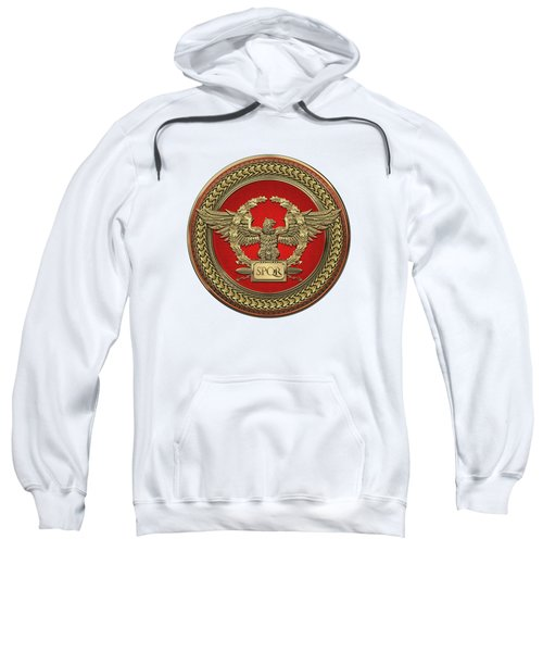 Gold Roman Imperial Eagle -  S P Q R  Medallion Edition Over White Leather Sweatshirt