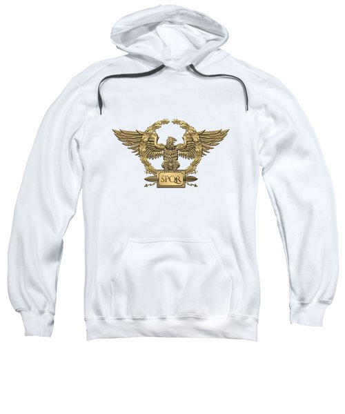 Gold Roman Imperial Eagle -  S P Q R  Special Edition Over White Leather Sweatshirt