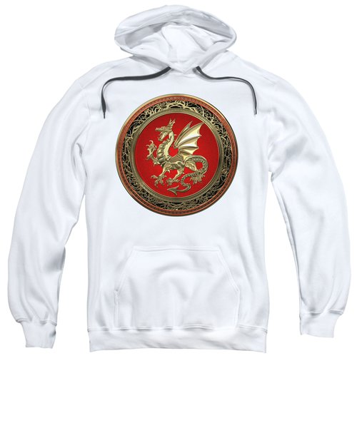 Gold Winged Norse Dragon - Icelandic Viking Landvaettir On Red And Gold Medallion Over White Leather Sweatshirt