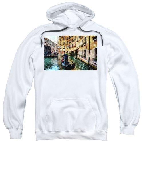 Gondola Traffic Near Piazza San Marco In Venice, Italy - Watercolor Effect Sweatshirt