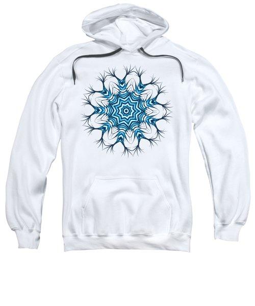 Hairy Snowflake Mandala In Blue Sweatshirt