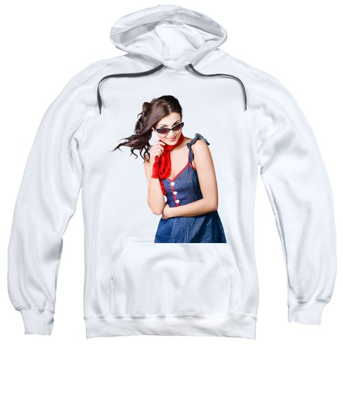 Happy Smiling Young Pinup Girl In Rockabilly Style Sweatshirt