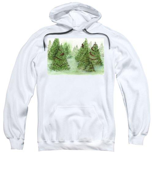 Holiday Trees Woodland Landscape Illustration Sweatshirt