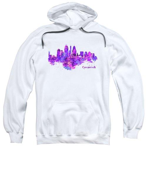 Horizontal Watercolor Skyline Of Cincinnati Sweatshirt