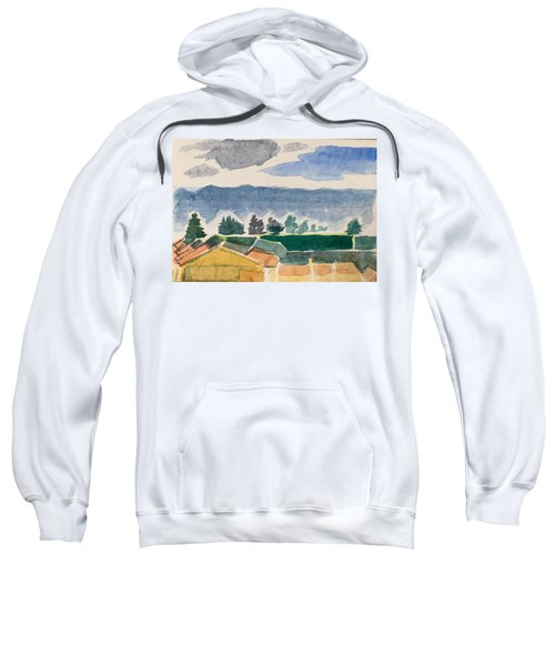 Houses, Trees, Mountains, Clouds Sweatshirt