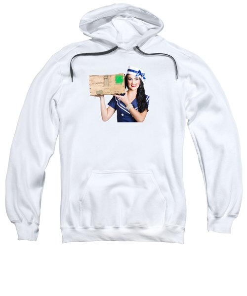 Sweatshirt featuring the photograph Isolated Pin Up Girl Holding A Military Arms Box by Jorgo Photography - Wall Art Gallery