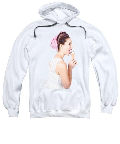 Isolated Pinup Girl With Ice Cream In Studio  Sweatshirt
