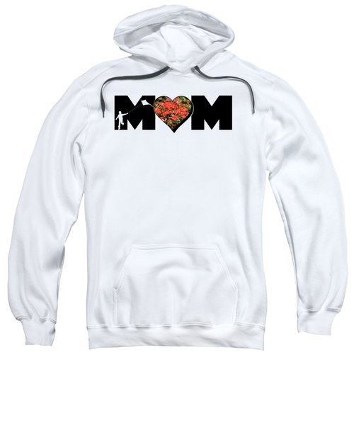 Little Boy Silhouette In Mom Big Letter With Cluster Of Red Roses In Heart Sweatshirt