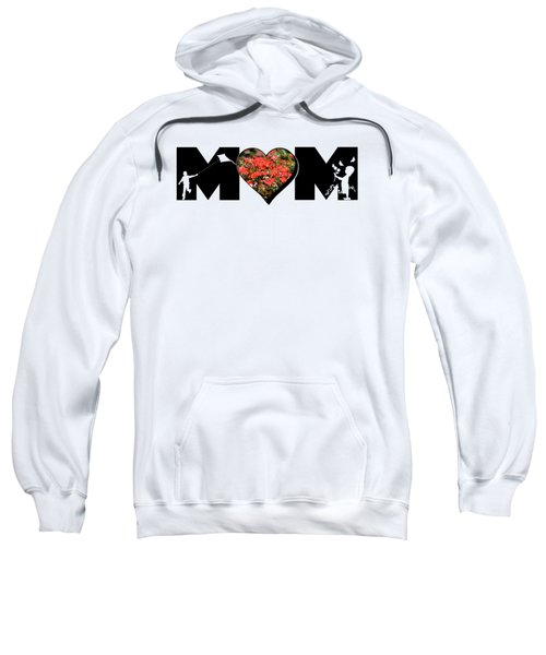 Little Girl And Boy Silhouette In Mom Big Letter With Cluster Of Red Roses In Heart Sweatshirt