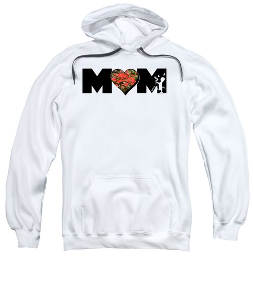 Little Girl Silhouette In Mom Big Letter With Cluster Of Red Roses In Heart Sweatshirt