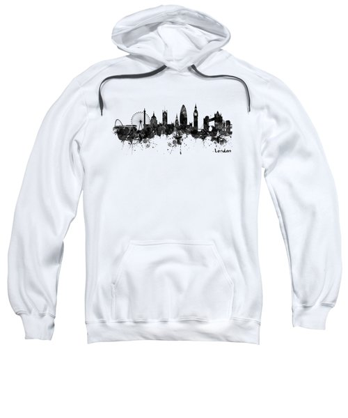 London Black And White Watercolor Skyline Silhouette Sweatshirt
