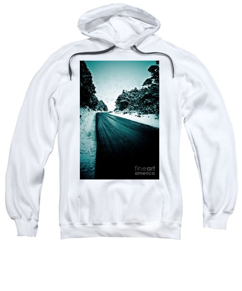 Lonely Road In The Countryside For A Car Trip And Disconnect From Stress Sweatshirt