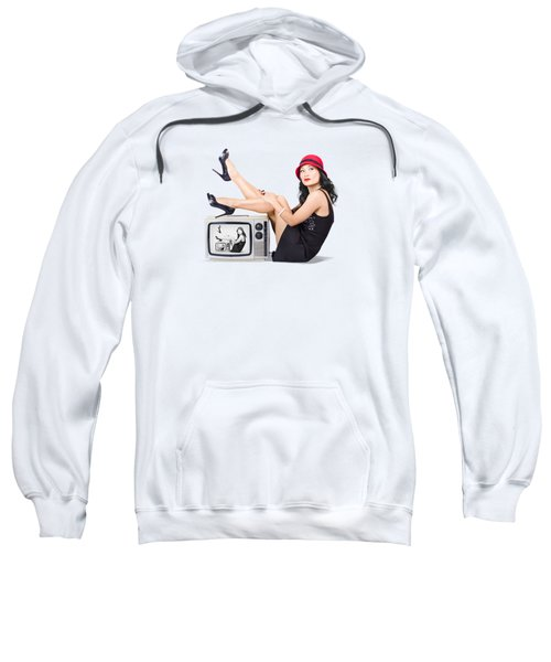 Lovely Asian Pinup Girl Posing On Vintage Tv Set Sweatshirt