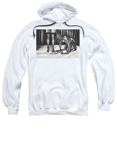 Man With Mask On His Knees Beside His Mistress Sweatshirt
