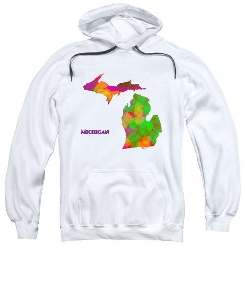 Michigan- Usa Map By Artist Singh Sweatshirt
