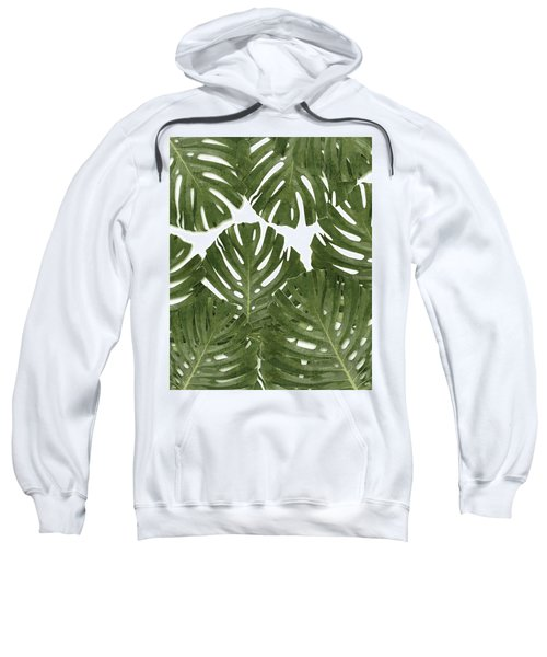 Monstera Leaf Pattern - Green - Tropical, Botanical Design - Modern, Minimal Decor Sweatshirt