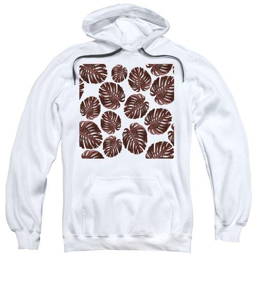 Monstera Leaf Pattern - Tropical Leaf Pattern - Brown, Red - Tropical, Botanical - Modern, Minimal Sweatshirt