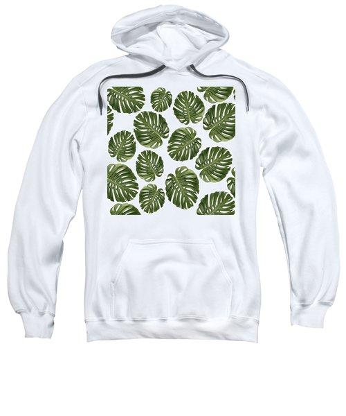 Monstera Leaf Pattern - Tropical Leaf Pattern - Green - Tropical, Botanical - Modern, Minimal - 1 Sweatshirt