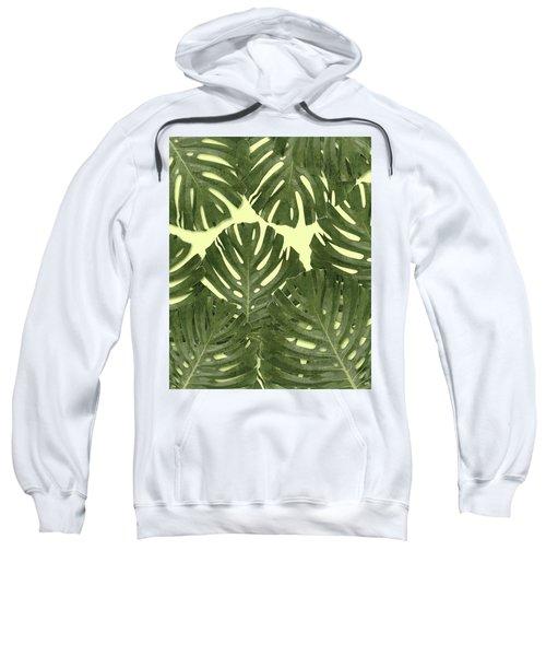Monstera Leaf Pattern - Tropical Leaf Pattern - Green - Tropical, Botanical - Modern, Minimal Decor Sweatshirt
